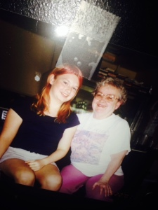 Grandma and me - I think I was 15. Note the home dye pink hair.